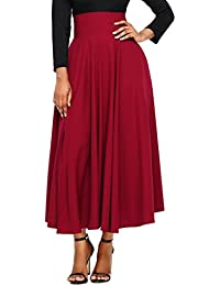 Women High Waist Front Slit Belted Casual A-Line Pleated Midi Skirt Dresses S-XXL