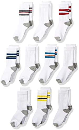 Amazon Essentials Jungen Socken Varsity Crew-Socken, Baumwolle, 10er-Pack
