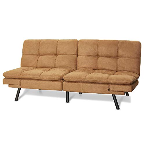 (Mainstay Wooden frame Memory Foam Split seat and back Futon in Camel Fabric)
