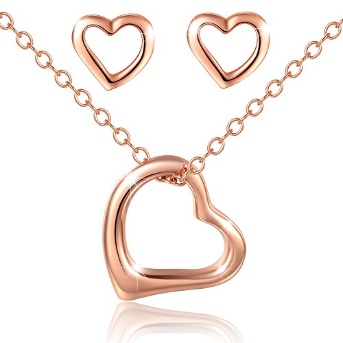 925 Heart Necklace Earrings Set£¬Mouttop¡°Forever Love¡± Rhodium-Plated , Sterling Silver Jewelry Set 16+1