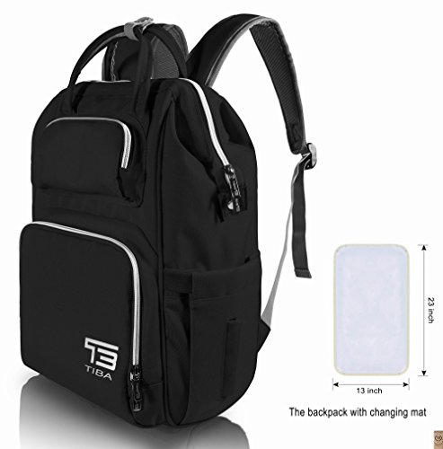 TB TIBAG Lightweight Mother Diaper Backpacks Bags for Mom and Dad with Changing Mat, Baby Bags,Diaper Baby Bag for Mom (Black, 35L)