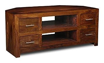 Cube Sheesham Furniture Corner TV/Media Unit - Living Room Furniture