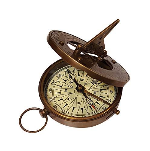Vintage Nautical Sundial Compass Round Brass Finish Sundial Navigational Compass