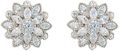EleQueen 925 Sterling Silver Full Prong Cubic Zirconia Blooming Flower Bridal Stud Earrings 15mm