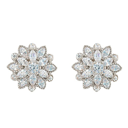 EleQueen 925 Sterling Silver Full Prong Cubic Zirconia Blooming Flower Bridal Stud Earrings 15mm Clear
