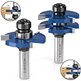 "Premium Tongue and Groove Router Bits - Matched 2 Bit Set - 1/2"" Shank 3 Teeth T-Shape Milling Cutter, Hardened K10 Carbide Router Bits for Woodworking (2 pcs)"