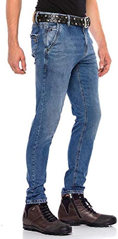 Cipo & Baxx męskie jeansy Chino Denim Straight Fit Regular Slim Fit klasyczne jeansy niebieskie W32 L32: Odzież