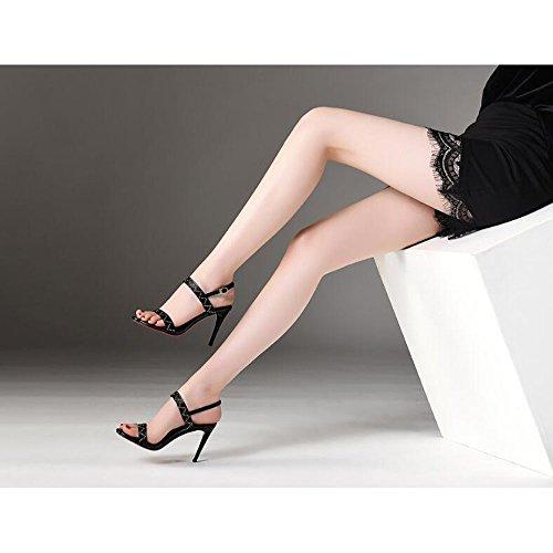 alla Alti Toe Moda Donne Open 37 Tacchi Sandali Rivetti Dimensioni Sandali Colore Metallo Nero 8xdq5Bw8Y