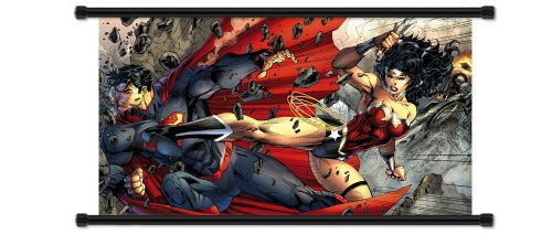 Wonder Woman vs Superman Comic Fabric Wall Scroll Poster  In
