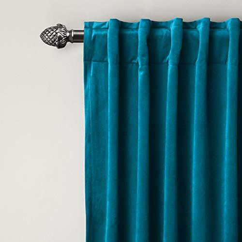 (ChadMade Set of 2 Solid Matt Velvet Curtain Panel Drapes Back Tab/Rod Pocket Blue 50W x 96L Inch Each, Birkin Collection)