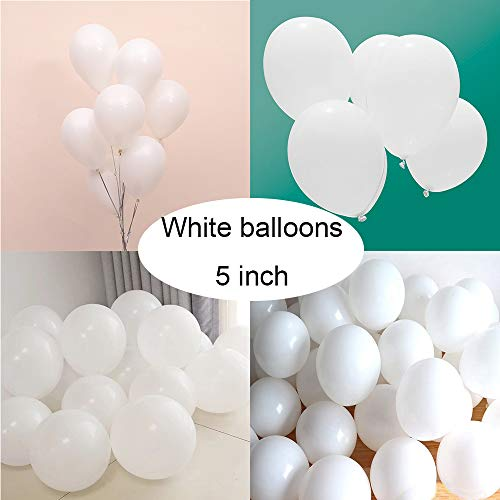 Latex White Balloons for Party 200 pcs 5 inch Macaron White Balloons for Baby Shower Birthday Wedding Engagement Anniversary Christmas Festival Picnic or any Friends & Family Party Decorations -