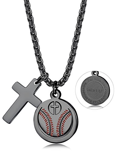 Thunaraz Stainless Steel Athletes Cross Necklace Bible Verse Football Soccer Powerful Christian Necklace for Men Boys Black-Tone