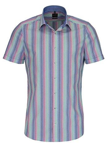 OLYMP Level Five body fit Hemd Halbarm mit Besatz Streifen bunt