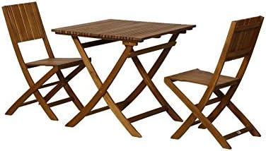 FloraSun® Muebles de Jardín Set Palmera, 2 sillas Plegables, 1 Mesa Plegable, 80 x 80 cm, h 74 cm, Estructura de Madera de Acacia, barnizada, con herrajes de Acero: Amazon.es: Jardín