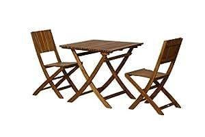 FloraSun® Muebles de Jardín Set palmera, 2sillas plegables, 1mesa plegable, 80x 80cm, h 74cm, estructura de madera de acacia, barnizada, con herrajes de acero