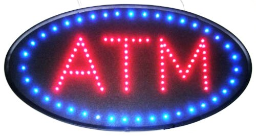 Atm Led Sign - Ultra Bright Open Led Neon Business Motion Light Sign. On/off with Chain 19101 (Oval ATM S86)