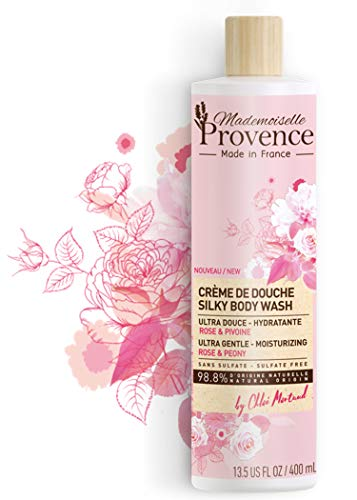 Shower Cruelty Organic - Mademoiselle Provence Natural Silky Organic Rose & Peony Body Wash, Sulfate Free French Bath & Shower Body Cleanser, Ultra-Gentle and Hydrating Vegan Formula, Cruelty Free, 13.5 fl oz