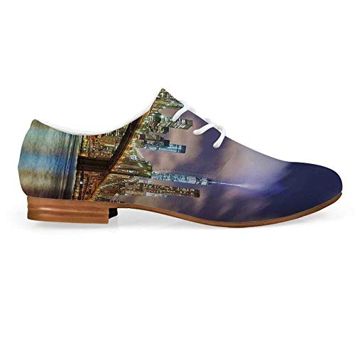 Landscape Leather Oxfords Lace Up Shoes,Manhattan Skyline with Brooklyn Bridge and Towers of Lights in NYC United States Bootie for Girls ladis Womens,US 11