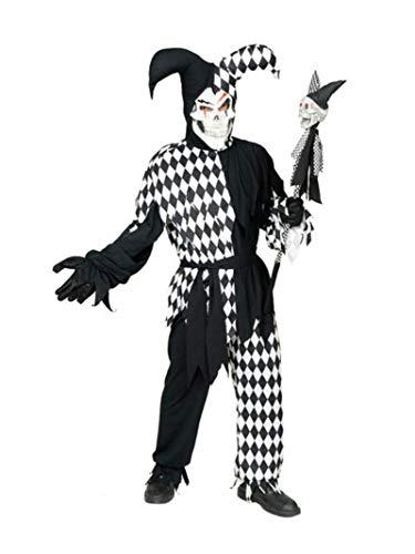California Costumes Men's Adult- Black Evil Jester, Black/White, M (40-42) Costume