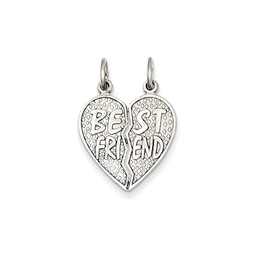 14K White Gold Polished Best Friend Heart Pendant (0.91 in x 0.67 in)