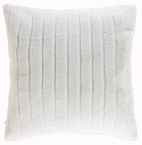 TINA'S HOME Off White Faux Fur Decorative Throw Pillows Down Alternative Filling | Cozy Striped Mink Accent Pillow Sofa Couch Bed Decor (18 x 18 inches, Ivory)