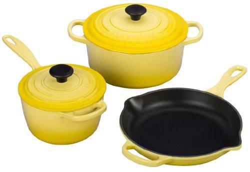 Le Creuset Signature 5-Piece Cast Iron Cookware Set, Soleil