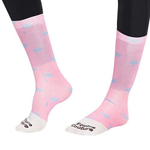 Equine Couture Whales Half Padded Boot Socks Pink STD -