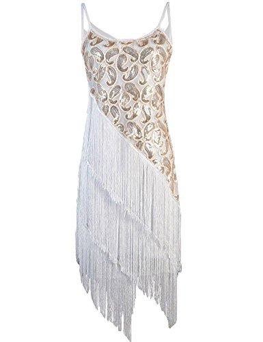 PrettyGuide Women's 1920S Paisley Art Deco Sequin Tassel Glam Party Gatsby Dress 10/12 White