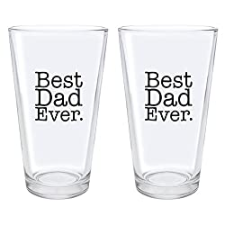Christmas Gifts for Dad Best Dad Ever Fathers Day Gifts for Dad Gift Pint Glasses 2-Pack Pint Glass Set Clear