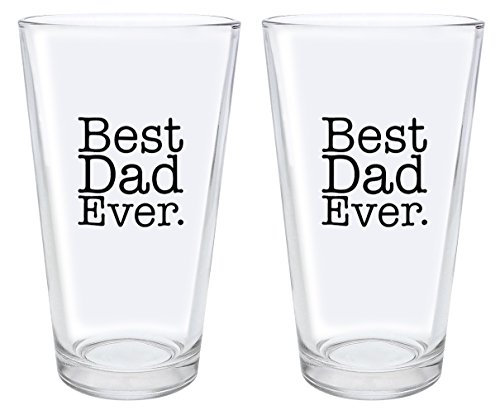 Christmas Gifts for Dad Best Dad Ever Fathers Day Gifts for Dad Gift Pint Glasses 2-Pack Pint Glass Set (Father Christmas Glass)