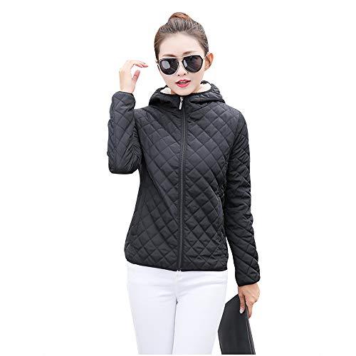 Jacket Thicken Outerwear Hooded Black Outdoor Warm Down BOZEVON Quilted Slim Womens Fleece Coat Jacket 65FqT7I