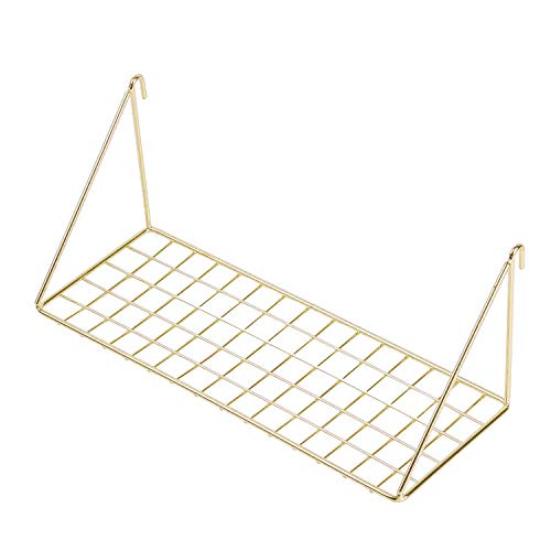 Simmer Stone Wall Grid Shelf, Wire Metal Hanging Rack Wall Display & Storage, Size 11.8x4.3x4.7 inch (LxWxH), Gold