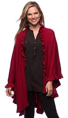 (StylesILove Ruffle Trim Knit Poncho-like Shawl Wrap - Crimson Red)