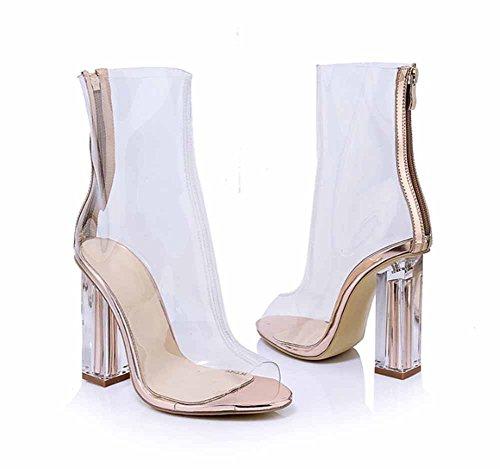 Alto Botas Transparentes Cm Pvc 10 Nuevo Toe Sandalias Mujer Tacón Clear Peep Glter Cremallera Moda Verano Crystal Cool qICwP7xW8