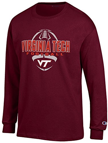 Virginia Tech Sidelines Jersey - Champion Virginia Tech Hokies Maroon Football Long Sleeve Tee Shirt by (X-Large)