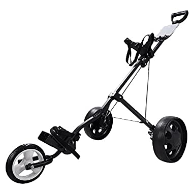 AW Foldable 3-Wheel Push Pull Golf Cart Trolley 6  Front 9  Rear Wheel w/ Manual Outdoor