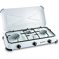 Plaque de cuisson gaz portable 3 feux - 3450 w - blanc laqué