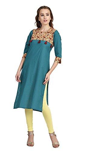Indi-DoriTurquoise-Printed-Tussle-Yoke-Kurti