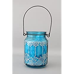 Blue and Silver Bohemian Hanging Glass Lantern Housewarming Home Decor Gift