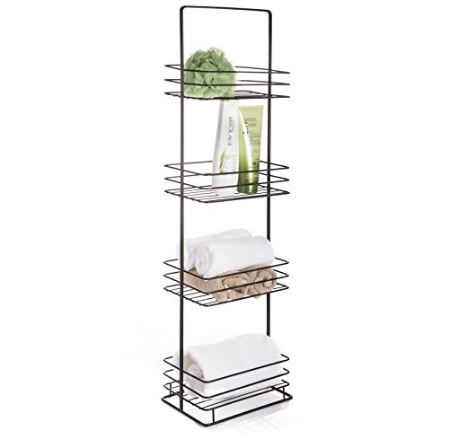 AMG and Enchante Accessories Free Standing Bathroom Spa Tower Storage Caddy, FC100002 ORB, Oil Rubbed Bronze - 4 Spacious Shelves to store towels, soap, tissue, books, wet wipes, perfume, makeup, and more! Free Standing design allows holder to be placed anywhere on your counter, perfect for small bathrooms , large bathrooms, apartments, or dorms. Conveniently fits into corners to maximize efficiency. - shelves-cabinets, bathroom-fixtures-hardware, bathroom - 41rOVf3t 8L -
