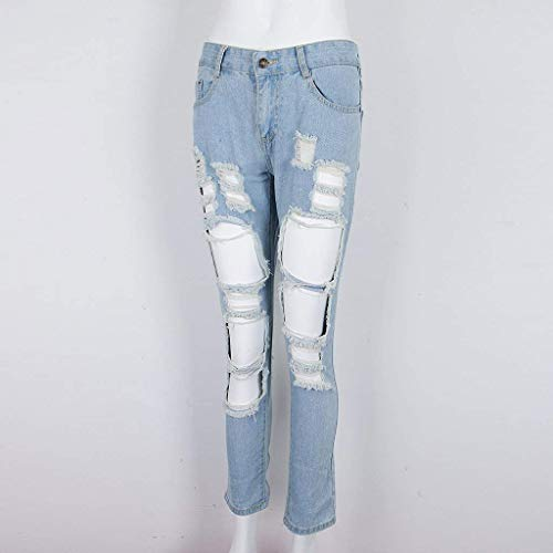 Acogedor Botón Skinny Blau Pantalones De Color Ripped Bolsillos Con Mujeres Vaqueros Sólido Moda Casuales Denim Las Oqfg6wq