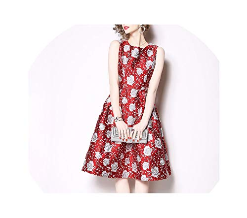 2019 Sleeveless Jacquard Dress Casual Party Slim O-Neck Floral Printing Dresses Women,red,L -