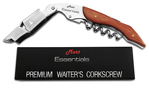 Waiters Corkscrew by Mart Essentials - Premium Rosewood All-in-one Corkscrew, Bottle Opener and Foil Cutter.