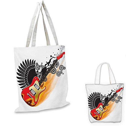Music ultralight shopping bag Bass Guitar with Wings in Flame and Spirals Rock and Roll Illustration pocketable shopping bag Black Orange Scarlet. 12