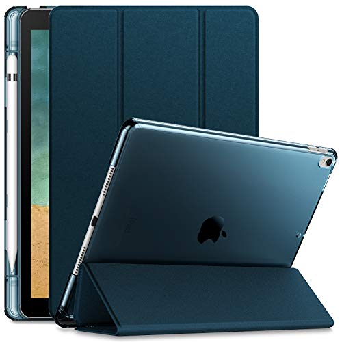 Infiland Case for iPad Air 3rd Generation 2019 / iPad Pro 10.5 2017, Translucent Frosted Back Smart Cover Case with Apple Pencil Holder,Navy