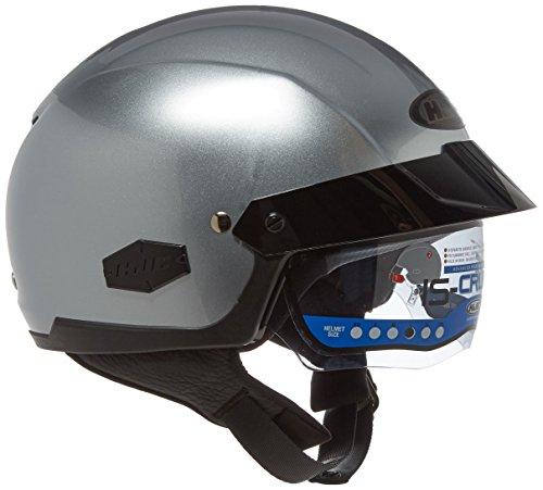 Silver Motorcycle Half Helmet - HJC IS-Cruiser Half-Shell Motorcycle Riding Helmet (Silver, Large)