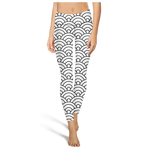 Womens Oriental Motif Wave Lantern Black Workout Running Leggins Tummy Control Essential Yoga Pants with Pockets