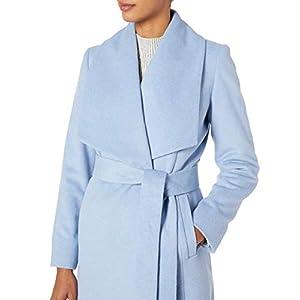 Cole Haan Women's Slick Wool wrap Coat, Ice Blue, 12