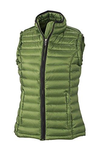 James & Nicholson Women's Daunenweste Ladies Quilted Down Vest Jacket Red - Jungle Green/Black