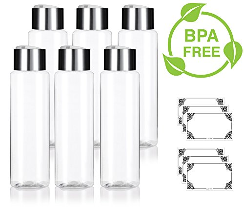 Clear 16 oz / 500 ml Professional Cylinder PET Bottles (BPA Free) with Wide Silver Disc Cap Lid (6 pack) + Labels for Shampoo, Conditioner, Body Wash, Lotion, and - Ounce Bottle Shampoo 16